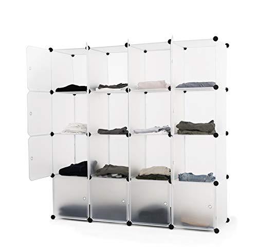ASUKALE Kleiderschrank aus Kunststoff Tragbares Regalsystem Aufbewahrungsregal Ordnungssystem Steckregal Garderobenschrank mit 16 Würfel (140 × 35 × 140)…