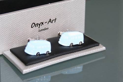Onyx Art Boutons de manchette fantaisie pour homme Motif camping-cars Bleu
