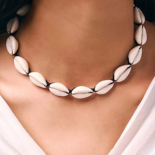 Yean Collar bohemio trenzado de concha de playa de puka concha collar gargantilla de cadena para mujeres y niñas (negro)