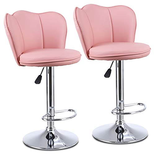 Bar Stools Set of 2, CAMORSA Dining Stools 360°Swivel Adjustable Height, Bar Stool with Chrome Footrest and Base Swivel, Gas Lift Stool for Kitchen Living Room Bar, Pink