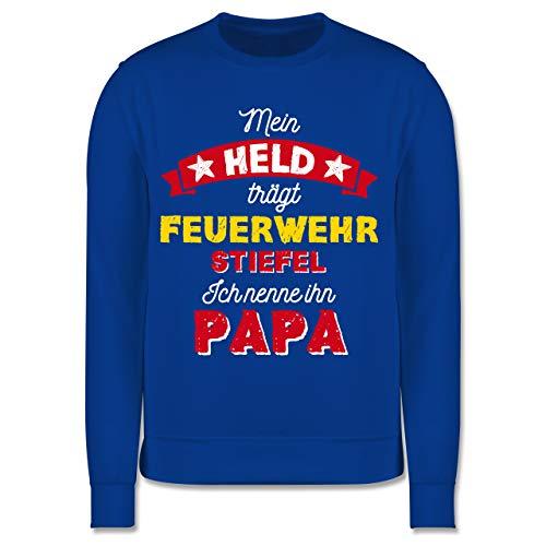 Shirtracer Vatertagsgeschenk Tochter & Sohn Kinder - Mein Held trägt Feuerwehrstiefel - 152 (12/13 Jahre) - Royalblau - Vatertag - JH030K - Kinder Pullover