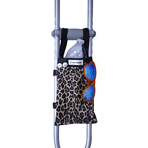 Crutcheze Premium Crutch Bag USA Made - Lightweight Pouch for Crutches with 3 Pockets - Tote Fits Adult & Youth Crutches - Accessories for Underarm Crutches (Leopard)