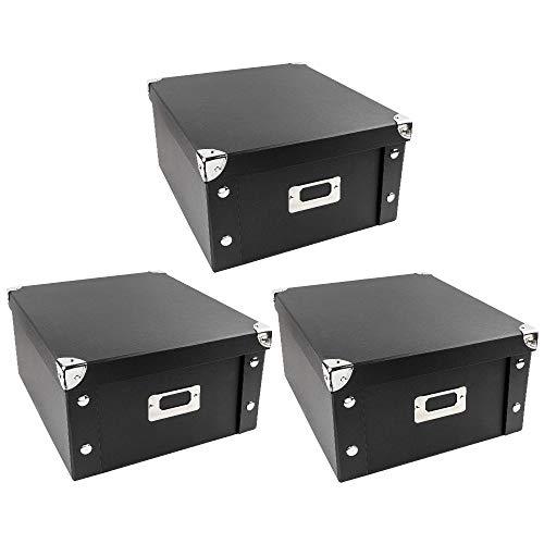 Ideen mit Herz Ordnungsboxen | 3er Set | Aufbewahrungsbox mit Deckel | faltbar | aus Pappe & Metall | jeweils 31cm x 26cm x 14cm (schwarz)
