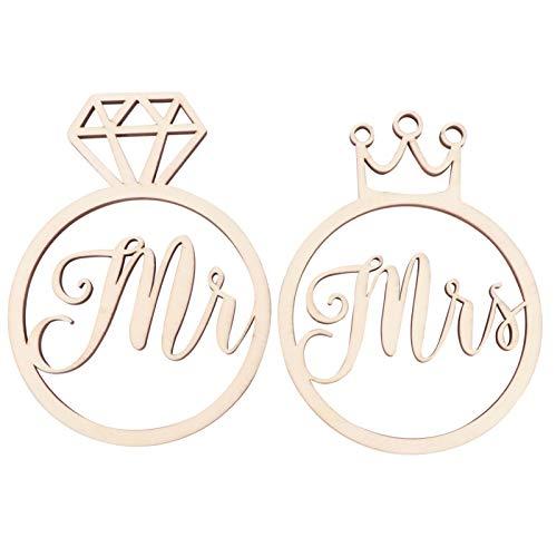 Amosfun 1 par de anillos de madera para fotos de Mr Mrs, corona de diamante de madera, adorno de boda, compromiso, aniversario, decoraciones románticas regalos
