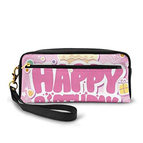 Kleine Make-up-Taschen, Geldbörse, Cartoon-Design, Party-Bild, Luftballons, Boxen, Wolken, Kuchen, Feier, Bild-Druck, PU-Leder, Reißverschluss, Reise-Kosmetiktasche und Bleistift-Organizer