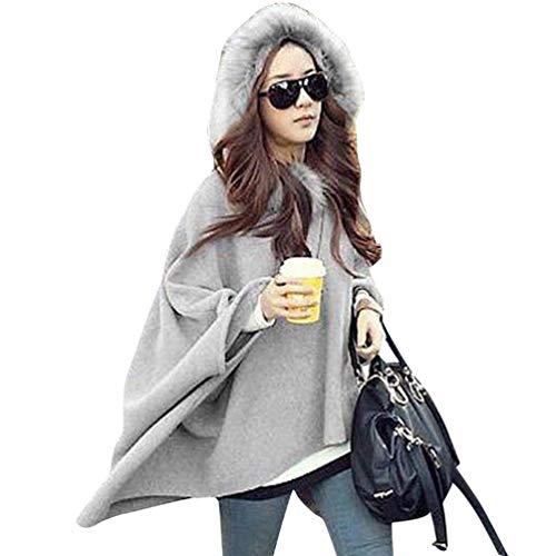 Baijiaye Winter Poncho Mit Kapuze Damen Warm Fell Hooded Poncho Frauen Baggy Pullover Poncho Mantel Elegant Hellgrau