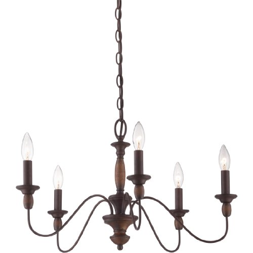 "Quoizel HK5005TC Holbrook Chandelier, 5-Light, 300 Watts, Tuscan Brown (14"" H x 24"" W)"
