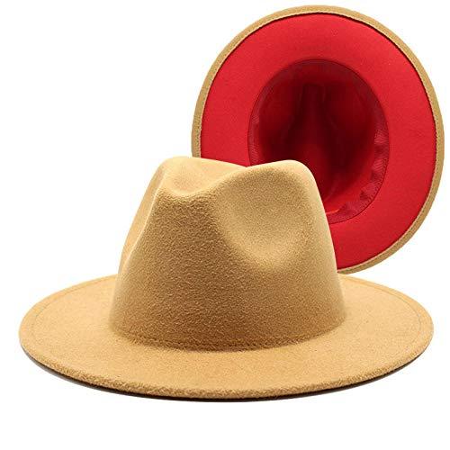 maozuzyy Fedora Trilby Moda Patchwork Sombrero Hombres Mujeres Sombreros De Jazz De ala Ancha Fedora Panamá Cap Trend Player Hat-15_Size_59-60Cm