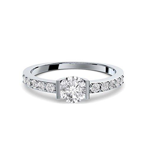 Verlobungsringe mit Zirkonia Stein + LUXUSETUI! Verlobungsring Heiratsantrag Idee Antrag Hochzeit Idee Silberring Ring Silber 925 Zirkonia wie Diamant Diamantring Damenring - FF204 SS925ZIFAZIFA56