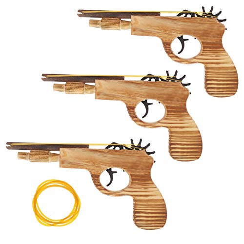 DaveandAthena 3 Pack Rubber Band Gun Wooden Toy Elastic Band Shooter Gun, 15 Pieces Rubber Bands Per Set