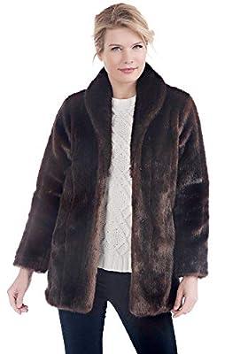 Donna Salyers' Fabulous Furs Women's Standard Faux Fur Shawl Collar Coat, Sable, XS from Donna Salyers' Fabulous Furs