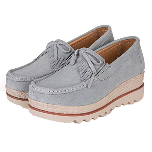 Zapatos Gruesos para Mujer, Punta Redonda, Informales, Simples, Primavera Verano, borlas al Aire Libre, Tacones Altos, Zapatos cómodos y cómodos para Vestir