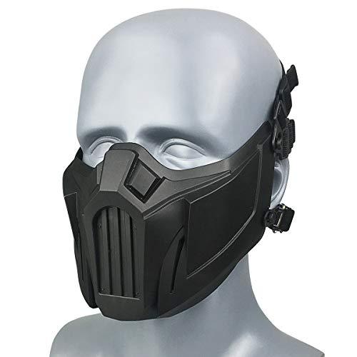 Wwman taktisch halbe Gesichtsschutz Schädel Maske für Softair Paintball CS Cosplay Halloween, für Erwachsene Jugendliche (Schwarz)