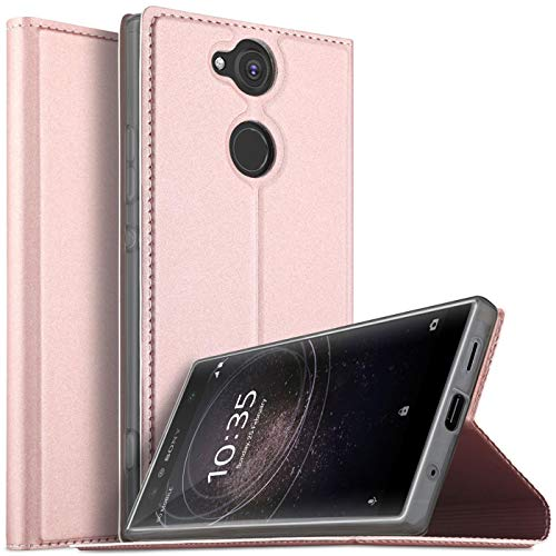 Verco Handyhülle für Xperia XA2, Premium Handy Flip Cover für Sony Xperia XA2 Hülle [integr. Magnet] Book Hülle PU Leder Tasche, Rosegold