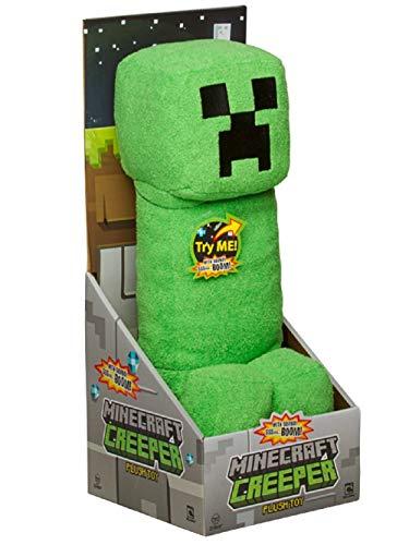 """JINX Minecraft Creeper Plush Stuffed Toy (Green, 14"""" Tall) with """"SSSsss Boom!"""" sound"""