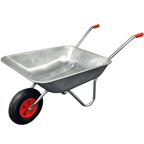 Arboria - Wheelbarrow - Garden Wheel Barrow - Galvanised Heavy Duty Pneumatic Tyre Professional - DIY - 65 Litre