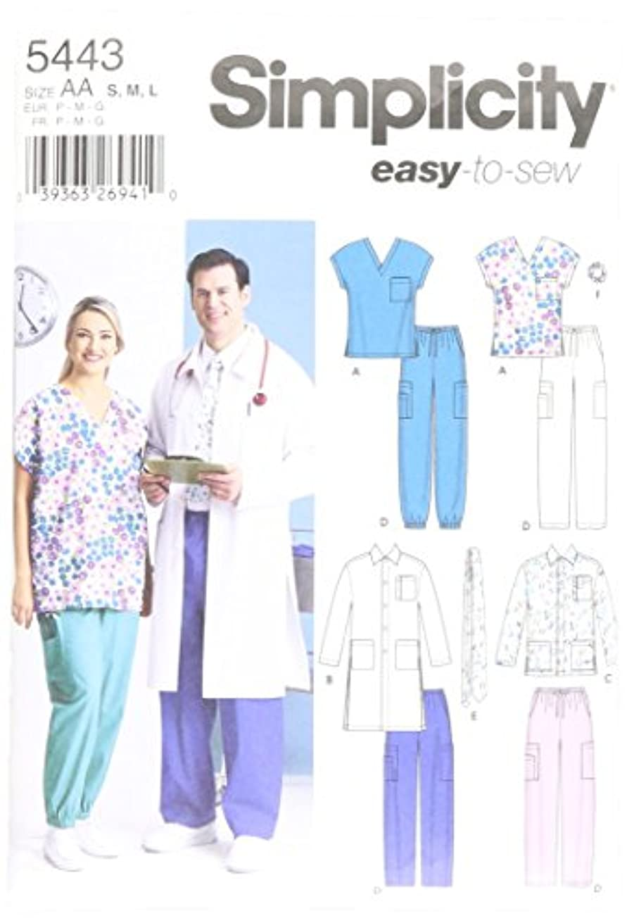 Simplicity Easy To Sew Men and Women's Scrubs and Doctor's Outfit Costume Sewing Pattern, Sizes S-L