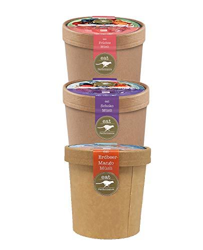 eat Performance® Müsli To Go Box (3x 65g) - Bio, Paleo, Vegan, Glutenfrei, Ohne Zuckerzusatz, Granola Aus 100% Natürlichen Zutaten