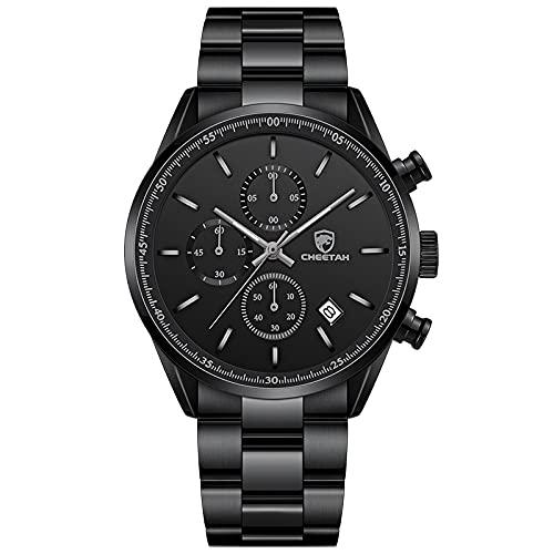 2021 NUEVOS Relojes DE Hombres Mens Top Lujo DE Lujo Acero Inoxidable DE Lujo Casual Reloj de Pulsera de Cuarzo Deportivo Reloj de Reloj a Prueba de Agua para Hombres(S Black)