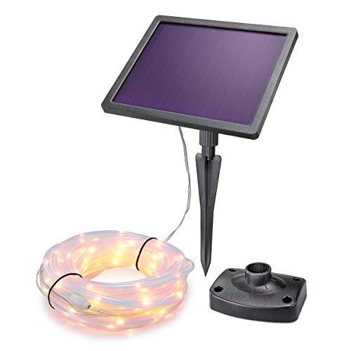 Solar Premium Lichtschlauch 10m für Sommer und Winter - 200 warmweiße LEDs, Lichtfarbe 3000K, 2 Betriebsmodi - extragroßes 2 Watt Qualitäts-Solarmodul - Party Weihnachten Solarleuchte esotec 102572