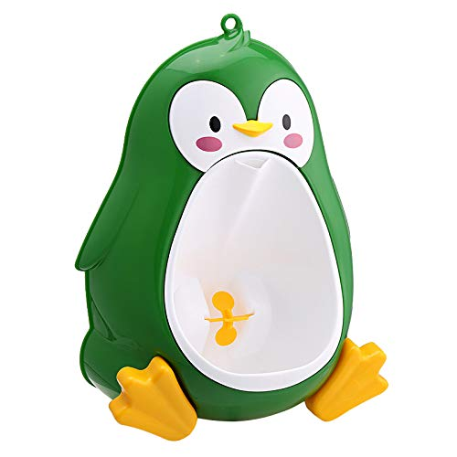 Baby potty 2021 Lovely Penguin Baby Boys Stand Vertical Toilet Potty Training Kids Urinal Bathroom Pee Infant Toddler Wall-mounted (Color : Green)