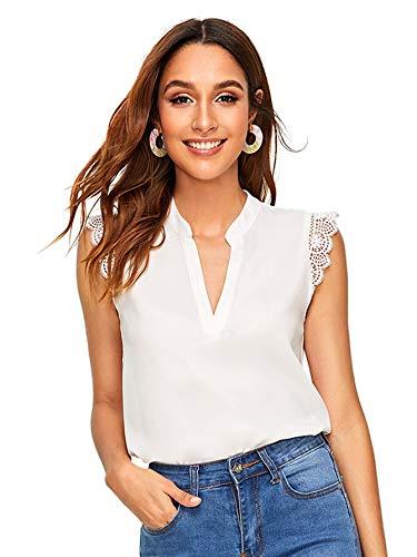 Soly Hux - Blusa sin mangas para mujer, con encaje, top de verano, muselina, blusa, elegante, informal Blanco 2. L