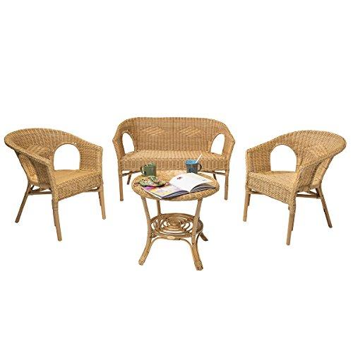 Rotin Design Rebajas : -47% Salon Chris de Mimbre Miel Moderno : 1 Sofa, 2 sillones y una Mesa
