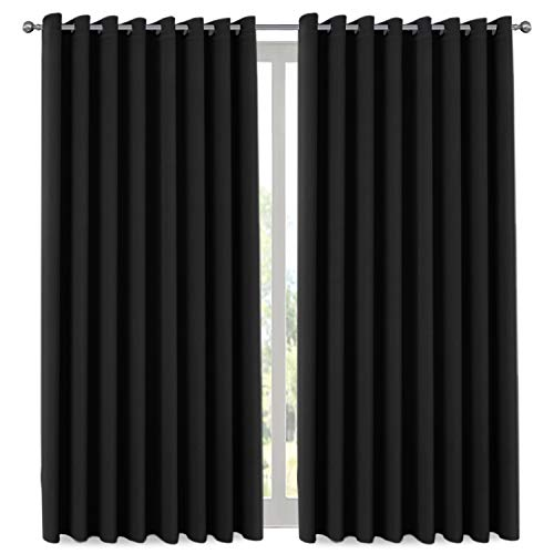 H.VERSAILTEX Extra Long and Wide Blackout Curtains, Thermal Insulated Premium Room Divider (Total Privacy, 9' Tall by 8.5' Wide -Grommet Wider Curtain Large Size 100' W by 108' L-Charcoal Gray
