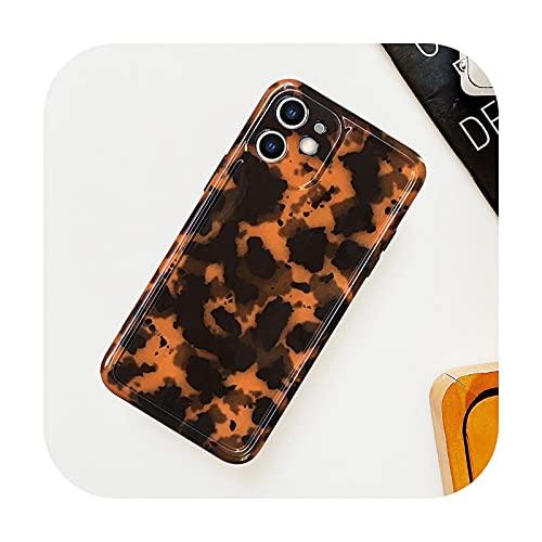 Funda para Samsung S10 S20 S21 Note 8 9 10 20 Tortoise Shell Leopard Phone Case para iPhone 11 Pro XS Max 12 MiNi XR X 7 8 Plus SE 2020-Marrón-para 7plus-8plus