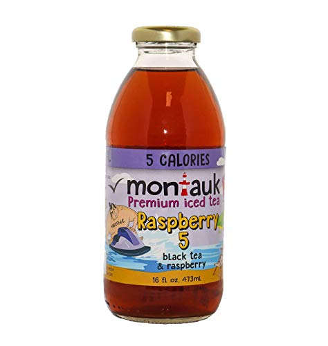 Montauk Iced Tea, Raspberry, All-Natural, 0 sugar, Unsweetened Real Brewed Tea, 16oz. glass bottles (12-pack)