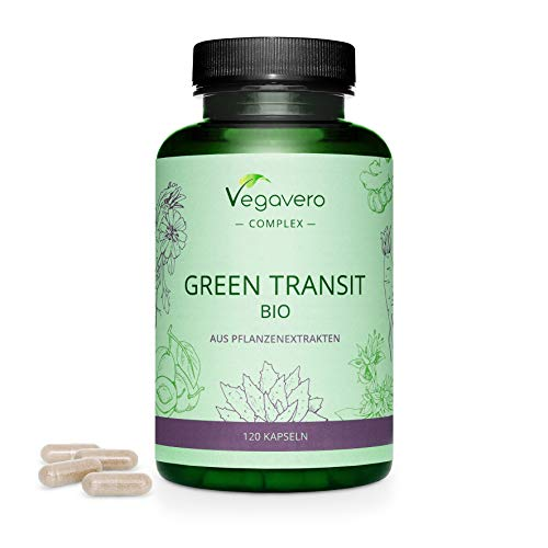 Tránsito Intestinal Complex Vegavero® | Aloe Vera + Jengibre + Achicoria | 100% Orgánico | Colon Cleanse + Estreñimiento + Gases | Con Ciruela & Genciana Amarilla | Sin Aditivos | 120 Cápsulas