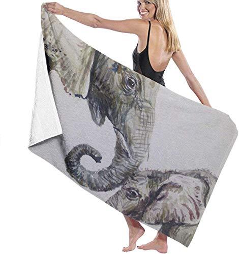 FETEAM Original Acuarela Elefante mamá Toalla de baño Mantas Suaves para la Piel Toalla Grande Toalla de Playa Gimnasio Yoga Toalla para niños