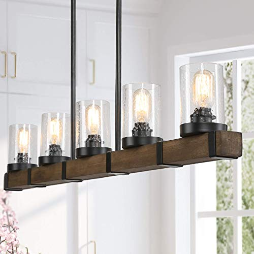 Farmhouse Chandeliers for Dining Room, 5-Light Kitchen Island Lighting, Rectangle Wood Chandeliers with Seedy Glass Shades