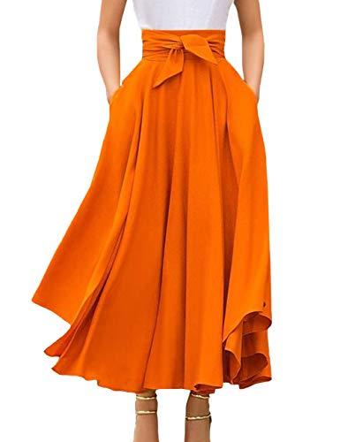 SOMTHRON Damen Maxirock Hohe Taille Einfarbig Faltenrock Mode Sommerröcke Rüschen Schnürsenkel Strandrock mit Bow(OR,S)