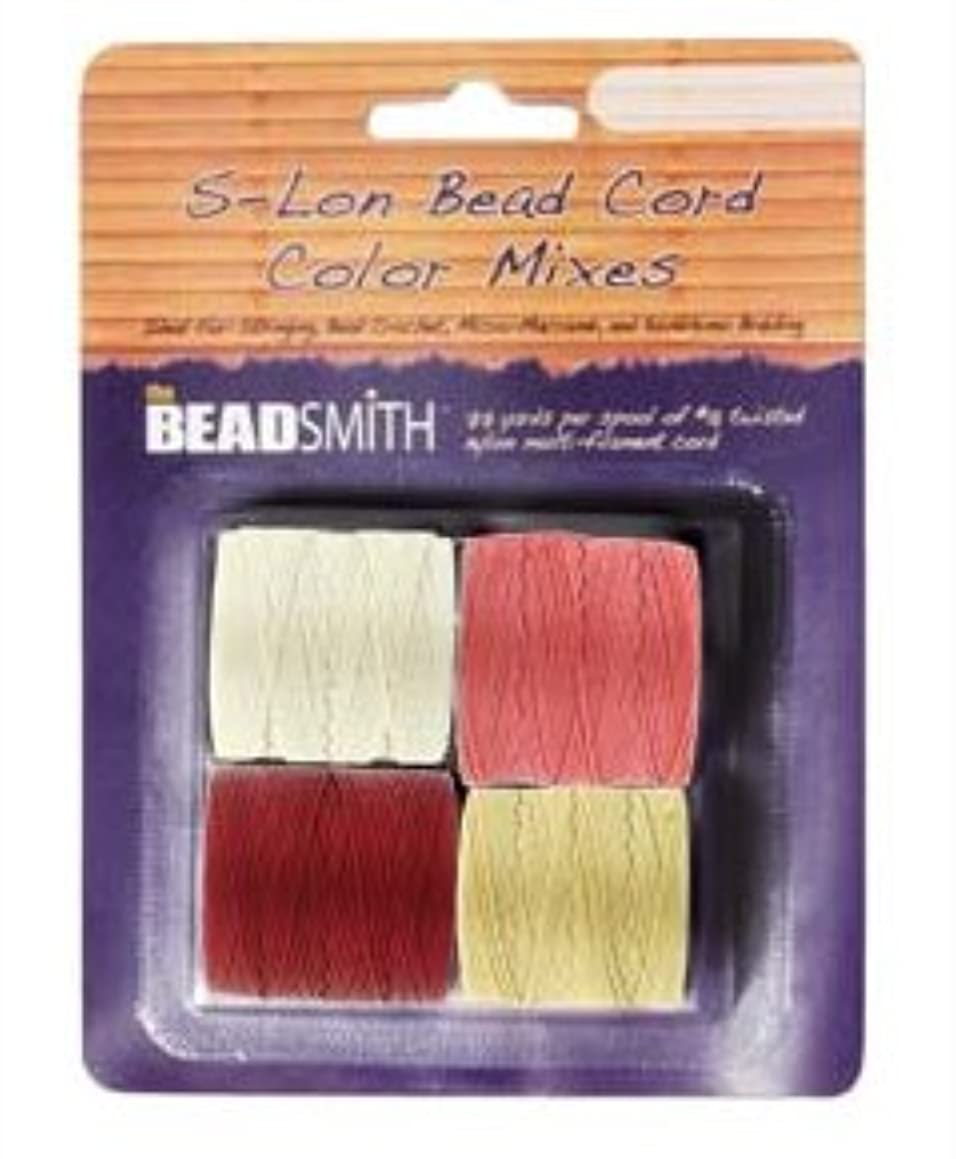 Beadsmith S-Lon Bead Cord, Size 18, Berry Pie Color Mix, 4 colors 77 yards each