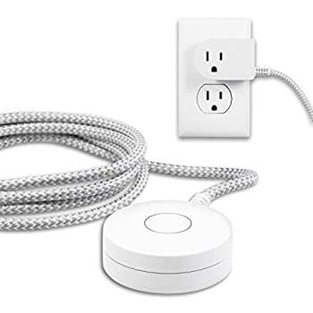 Philips Grounded Plug with Braided Cord 6 Ft Long Power Cable ON/Off Switch for Tabletop or Wall Mount Perfect for Lamps/Seasonal Lights 3 Prong Slip Resistant Base SPS1611WA/37 White