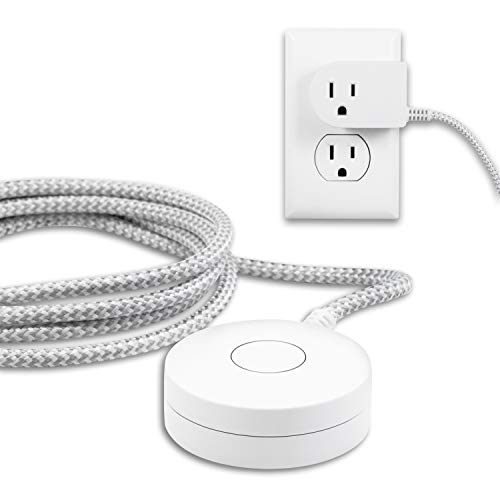 Philips Grounded Plug with Braided Cord, 6 Ft Long Power Cable, ON/Off Switch, for Tabletop or Wall Mount, Perfect for Lamps/Seasonal Lights, 3 Prong, Slip Resistant Base, SPS1611WA/37, White
