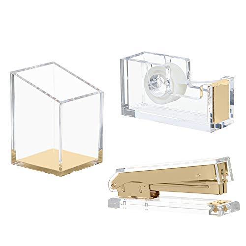 Punch & Stick | Stationery & Desk Accessories | Pen Holder, Stapler & Tape Dispenser | Gold & Clear Acrylic Lucite | Office Desk Accessories | Office Gift Set