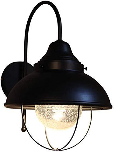 Lámparas de pared industriales, Luz de pared Interior Industrial Retro Burbuja Vidrio Shade Negro Lámpara de hierro labrado Lámpara de pared Lámpara de pared Individual con jaula de metal de alambre E