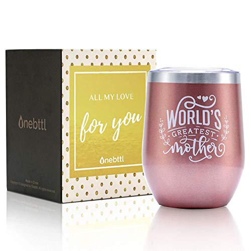Gifts for Mom, Mom Gifts from Daughter/Son for Birthday/Mother's day, 12oz Wine Tumbler Mug with Spill-Proof Lid, Stainless Steel Double Wall Vacuum Insulated Wine Cup, World's Greatest Mom Rose Gold
