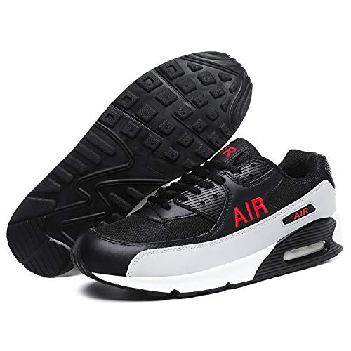 Mens Shock Absorbing Air Running Trainers Jogging Gym Fitness Trainer New Shoes Sizes 7-12 UK (9 UK, Black/Red)