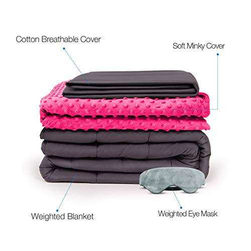 BUZIO Weighted Blanket 4 Piece Set with 2 Removable Duvet Covers & 1 Weighted Sleep Mask, Heavy Blanket for Hot & Cold Sleepers - Kids or Adults (48 x 72 inches - 15 lbs, Pink)
