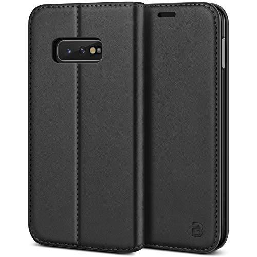 BEZ Handyhülle für Samsung Galaxy S10e Hülle, Premium Tasche Kompatibel für Samsung Galaxy S10e, Schutzhüllen aus Klappetui mit Kreditkartenhaltern, Ständer, Magnetverschluss, Schwarz