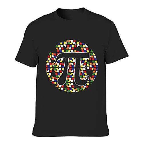 Herren Baumwoll-T-Shirt Pi-Cube locker geschnitten Runder Ausschnitt - kurzes Hemd für Radfahren Black 4XL