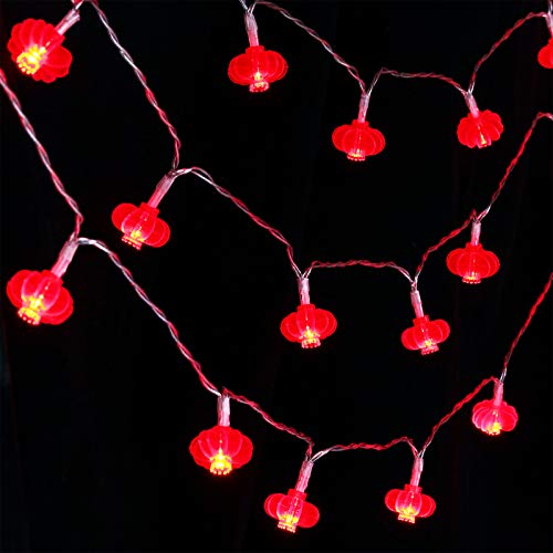 Luces de Cadena de Farolillos Colgantes Rojos de 33 Feet 80 LED Luces de Cuerda de Año Nuevo Chino Decoración Funcionada por Pilas Luces de Hadas para Festival de Primavera, Boda, Navidad, Fiesta