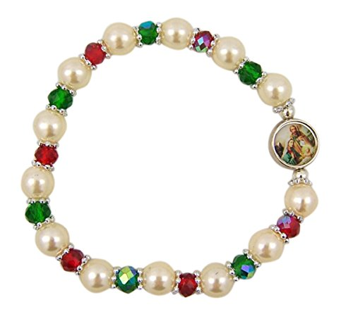Acrylic Bead Christmas Stretch Bracelet with Nativity Medal, 7 Inch
