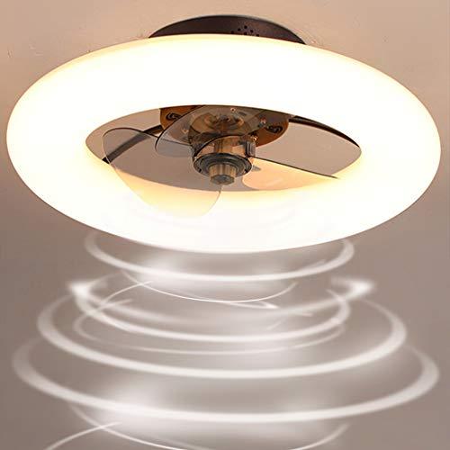 LANMOU Ventilador de Luz de Techo, Moderno Ventilador con Luces LED Regulable con Mando a Distancia Timing 6 Velocidades Ajustables Ventilador de Techo Silencioso Reversible para Salón Comedor,Marrón
