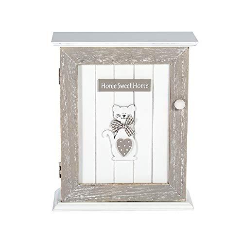 Schlüsselkasten Schlüsselbretter Schlüsselbox mit 6 Haken, grau und weiß Holz mit Katze Motiv und Home Sweet Home, Geschenk für Katzenliebhaber