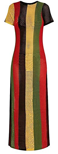 Clossy London 100% Egyptian Cotton Ladies Rasta Jamaican Work Work String Dress Slit See Through Multicoloured Hip Hop Dance Club Dress beach cover up L-XL size (Large/X-Large)