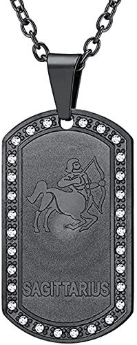 NC198 Collar de Acero Inoxidable de Titanio con Colgante de Acero de Titanio Sagitario del Zodiaco Negro de Moda para Hombre